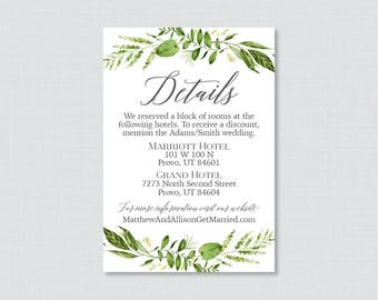 Printable OR Printed Wedding Details Cards - Green Details Inserts - Rustic Green Wreath Wedding Details Invitation Inserts 0007