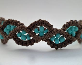 Cotton Umber Brown Macrame Beach Bracelet with Turquoise Glass Beads