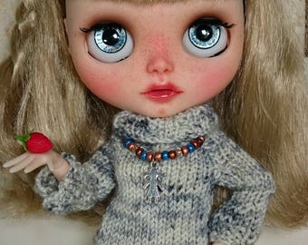 """OOAK BLYTHE Knit Dress """"Blueberry Muffin"""" with shabby chic bows"""