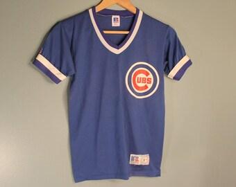 Vintage 1980'S NLB Chicago Clubs Youth Large Baseball V-Neck T-Shirt