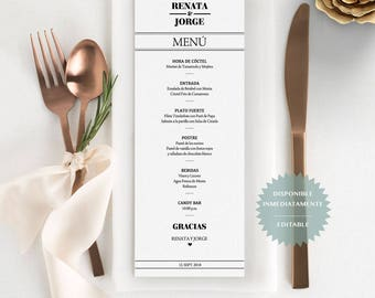 Menu de evento editable en PDF. Spanish printable table Menu. Wedding Menu. Menu para bodas Menu para Cena Menu fiesta