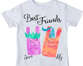 Best Friend Shirt Set, best friend shirts, bff,  Friend Shirt, Bunny Shirt, besties, Friend Gift, girl best friends, Girl Outfit,