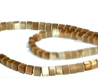 Gold Cube Beads 4mm Square Glass Gold Beads Opaque Metallic Gold Color Strand of 85 Beads