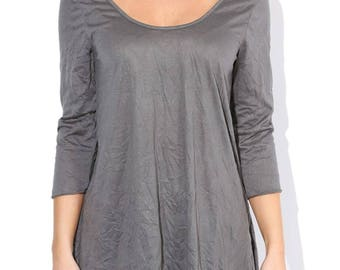 Grey Crinkled Tunic Top, Scoop Neck Tunic, Vintage Tunic Size S M L - Made in USA