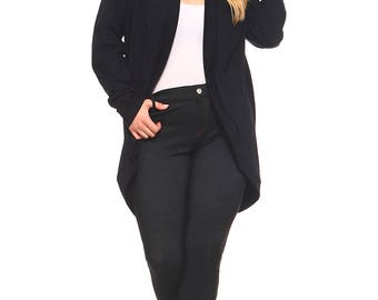 SALE Womens Black Plus Size Cardigan, Plus Size Sweater, Cardigans For Women, Plus Size Clothing, Black Cardigan, Made in USA Size 1X 2X 3X