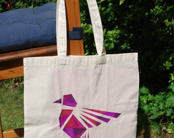 "Tote bag ""Geometrical bird"", shoulder bag, cotton bag, shopping bag - hand painted"