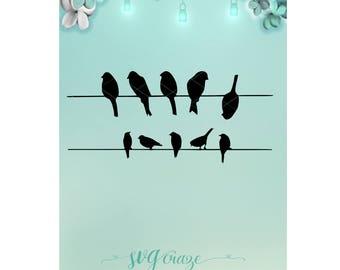 Birds on Wire / Bird Svg / Svg / Wire Svg / Mason Jar / Night Light / Bird Dxf / Wire Dxf / Bird Png / Wire Png