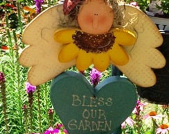 Garden Angel,  Bless Our Garden Angel, Hand Painted Garden Angel, Angel with Sunflower and Crow, Wooden Hanging Sign, Sign with Quote