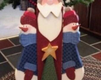 Christmas Decoration, Santa And Snowmen, Snowman Decoration, Handpainted  Wooden Christmas Decoration, Standing