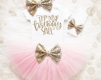 1st Birthday Girl Tutu Outfit | It's My Birthday Y'all | 1st Birthday Tutu | Cake Smash Outfit | Pink Gold 1st Birthday Tutu Set