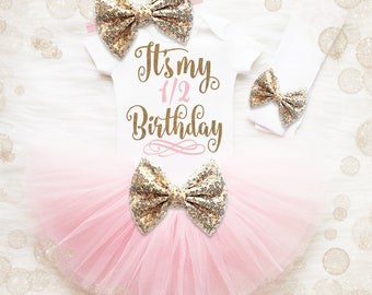 Baby Girl Half Birthday Shirt | Half Birthday Outfit | Baby Girl Half Birthday Bloomer Set | Baby Girl Birthday Shirt | 1/2 Birthday Outfit