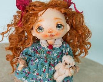 Textile doll, rag doll, fabric doll, cloth doll, art doll, vintage doll, interior doll, OOAK doll, home decor, green, doll - AliceMoon #75