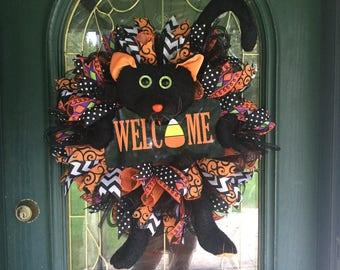 Halloween Black Cat Welcome Wreath