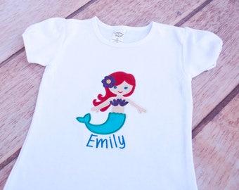 Mermaid Shirt, Mermaid Applique, Embroidered Mermaid, Mermaid Birthday Shirt, Mermaid Bodysuit, Glitter Mermaid Shirt, Custom Mermaid Shirt