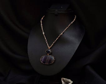 Double strand necklace amethyst and Fluorite