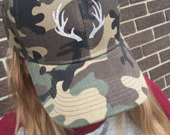 Camouflage Glitter Antler Custom Hat-New -Holiday Hat