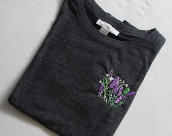 Embroidered Lavender Flower Shirts