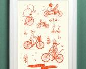 Wild Ride - Animals on Bikes Illustrated Print