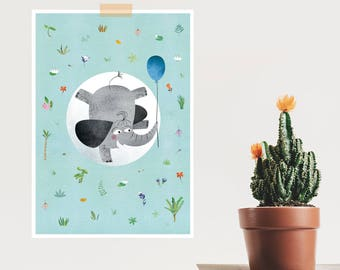 Neutral Nursery Decor, Elephant Nursery Decor, Elephant, Kids Room Decor Idea, Balloon, Baby Shower Gift, Prints, Wall Art, Gift For Kids