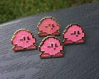 Sprite Kirby Glitter Enamel Pin