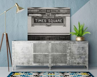 New York Times Square Subway Station Photo, Black and White Photography, Subway Mosaic Tiles, New York City Poster, Graphic Artwork, 1970s
