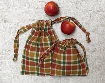 smallbags Plaid red, Brown and green - 2 sizes - reusable cotton bag - zero waste