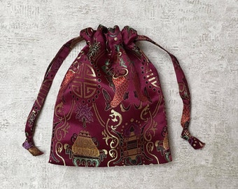 smallbags fabric Chinese Burgundy Red