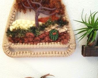 Vintage Fiber Wool Tree Scene