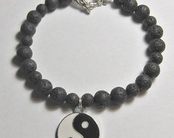 Lava Bead Bracelet with Yin Yang Charm