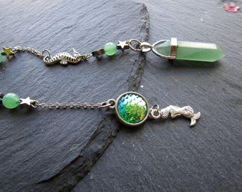 Mermaid Sea Goddess Aventurine Pendulum, Mermaid Scales Pendulum, Sea Pendulum, Green Aventurine pendulum, Pendulum,  Pendulum dowsing