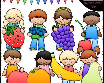 Kids With Fruit Clip Art and B&W Set