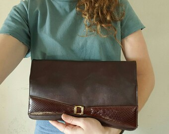 VINTAGE FAIGEN CLUTCH • Australian designer clutch • Vintage Purse • Vintage evening bag • Formal bag • Brown leather bag • Vintage leather•