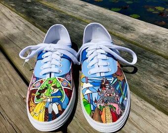 Beauty and the Beast Stained Glass Canvas Shoes