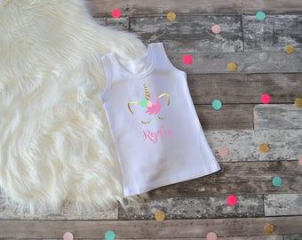 Baby Girl Clothes, Unicorn Tank Top, Baby Girl Unicorn Shirt, Unicorn Shirt, Personalized Unicorn Shirt, Unicorn Birthday Shirt, Unicorn