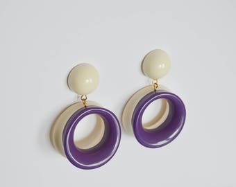 Vintage 90's Minimal Color Block Reversible Hoop Earrings