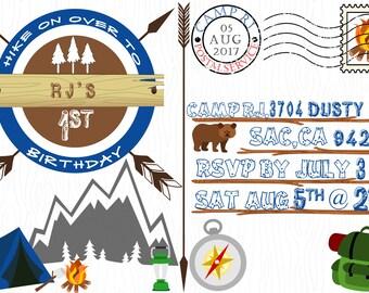 Camping Birthday Postcard Invitation
