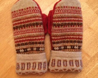 Burnt Orange and Tan Upcycled Wool Mittens