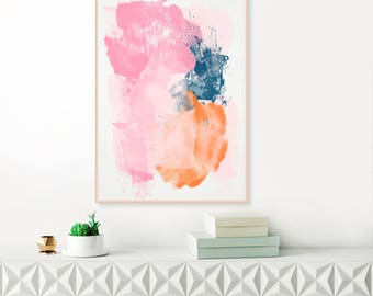 Pink, Orange and Navy Abstract Art, Large Abstract Painting, Modern Printable Wall Art, Original Wall Art, Instant Download Art