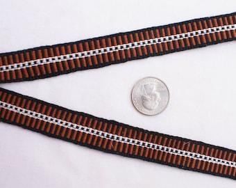 Inkle: Brown, Golden Brown, White (SILK, 7.5 ft)
