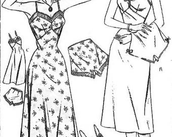 "Vintage 1940's Sewing Pattern Full-length Slip and French Knickers Bust 38"" WW11"