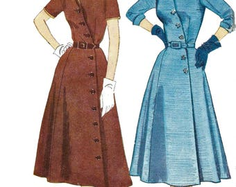 """Vintage 1950's Sewing Pattern Women's Front Diagonal Buttoning fastening Dress Notched Collar Sleeves Bust 38"""""""
