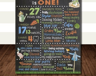 Peter Rabbit First Birthday Milestone Poster - Vintage Peter Rabbit Baby Chalkboard Sign - 1st Birthday Stats - Achievements Profile Board