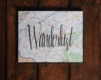 Wanderlust/Wall Art/Frame/8x10/Travel/Painting/Map/Decor