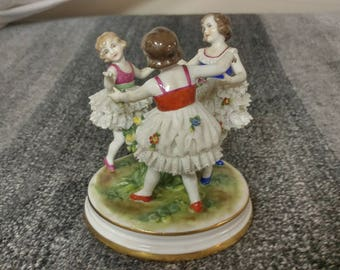 MINT Dresden Lace Ballerinas Dancing Ring around the Rosy, made by Müller-Volkstedt between 1907-1945
