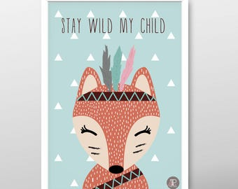Fox poster, Indian poster, nursery poster, Orange, Blue, A3 poster, Girls poster, Boys poster, Animal poster, Baby poster, Kids poster