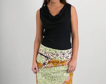 Reversible Cotton Skirt Green Orange Brown Floral Print Grey White Print Detachable Pocket Long Length