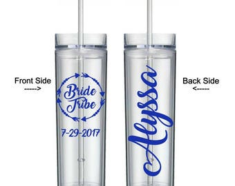 Bride Tribe Tumbler, Bachelorette Party Favors, Personalized Tumbler with Straw, Bridesmaid Tumbler, Bride Tumbler, Bridal Party Tumblers