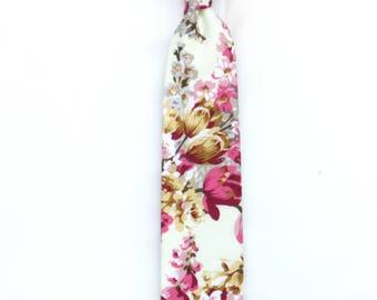 Floral and Light pink Wedding Tie Men's skinny tie Necktie for Men 209tc