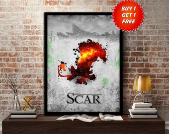 Lion King, Scar, Poster, Print,Disney, Gift For Him,Gift, Simba,Evil, Beast,Villian, Gift for her, Animals, Lion, Birthday, Deal,Mothers Day