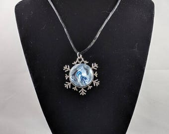 Snowflake Pendant - Metallic Blue & White